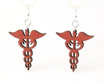Caduceus Medical Symbol - Wood Earrings