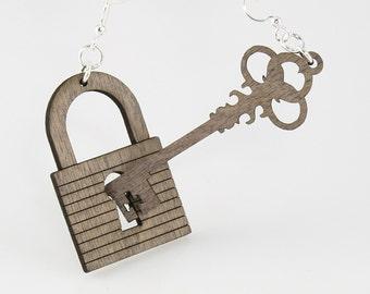 Lock and Key Earring set - Laser Cut Wood Earrings