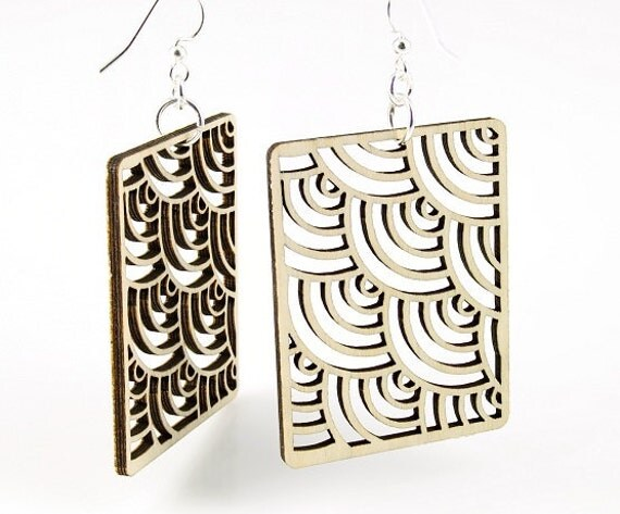 Waves in Squares - Laser Cut Earrings From Reforested Wood