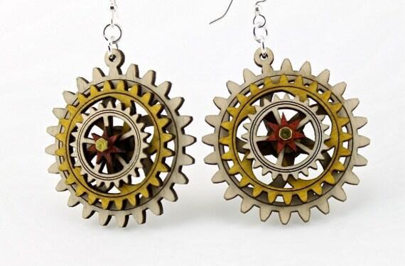 Triple Layered Spinning Kinetic Gears  - Laser Cut Wood Earrings