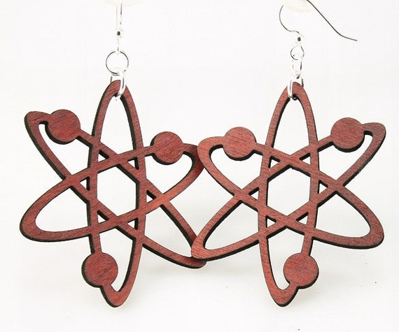 Atom Structure Earrings Made From Laser Cut By