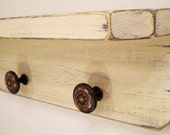 Distressed Aged Primitive Wood Shelf with 2 Antique Bronze Style Knobs, Shabby Chic French Country, Butter Cream