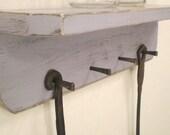 Wood Key Hook Shelf with 4 Masonry Nails, Deep Lavender