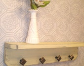 Wooden Wall Shelf with 4 Knobs, Shabby Chic / French Country in Creamy Yellow