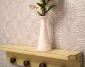 Wall Shelf with 4 Round Bronze Knobs, Shabby Chic / French Country in Creamy Yellow