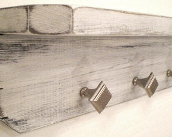 Primitive Rustic Shabby Chic hanging shelf, Handmade Wood Shelf with 3 Silver Knobs-Pale Silver