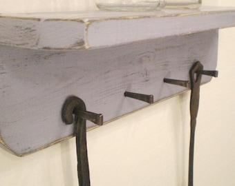 Shabby Chic Wood Key Hook Shelf with Masonry Nails, Country Cottage Decor, Wall Shelf with Hooks, Jewelry Holder, Distressed Wall Shelf
