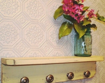 Wood Wall Shelf 4 Pewter Knobs, Shabby French Country, Distressed Primitive