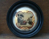 Antique English Boat Scene Gondola Painting Reverse Round Glass Wall Hanging Image Picture circa 1900-10's / English Shop