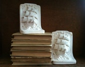 Vintage English Chalkware Ship Bookends, Made in London / English Shop