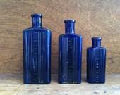 Vintage English Blue Medicine Bottles, 'not to be taken' / English Shop