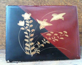 Vintage Japanese Black Gold Red Lacquer Box, with Birds and Flower Motive Jewellery Jewelry Trinket Box circa 1950-60's / English Shop