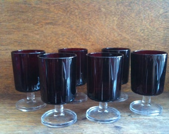 Vintage French Red Glasses Set of Six Dessert or Drinking Glasses circa 1960-70's / English Shop