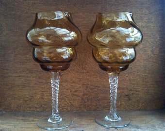 Vintage English Amber Honey Coloured Drinking Glasses circa 1960-70's / English Shop