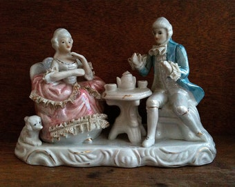 Vintage English tea party with dog man woman couple rococo style ornament figurine decor circa 1960's / English Shop