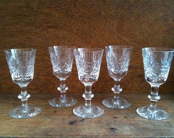 Vintage English 5 Small Crystal Cut Glasses circa 1960-70's / English Shop