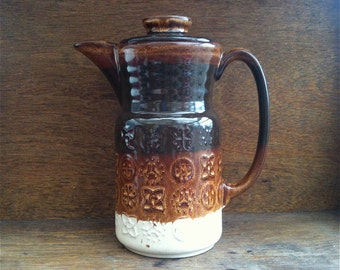 Vintage English brown ceramic coffee tea pot circa 1960's / English Shop