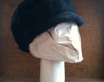 Vintage English black charcoal ladies hat faux fur circa 1960's / English Shop