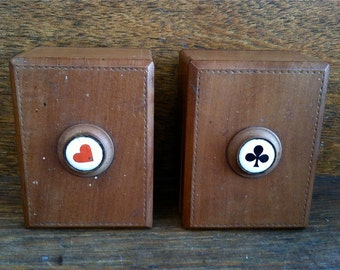 Vintage English Wooden Playing Card Boxes with Hearts and Clubs trinket jewellery box circa 1960's / English Shop