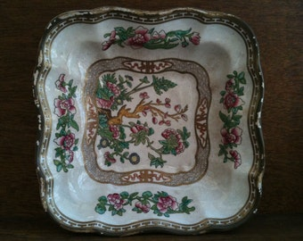 Vintage English Harrods Asian inspired square plate with flower buds on branch circa 1920's / English Shop