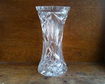 Vintage English Lead Crystal slim glass vase circa 1950's / English Shop