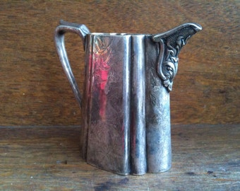 Vintage English MetalEngraved Decorated Creamer Milk Jug Pitcher circa 1920's / English Shop