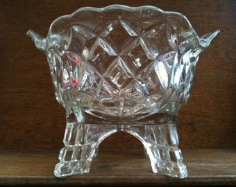 Vintage English Heavy Lead Crystal Glass Vase Bowl for Fruit or Flower Arrangement circa 1950's / English Shop