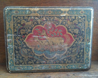 Vintage English Large Oriental style Biscuit Tin Box with Deer and Pheasants circa 1930-50's / English Shop