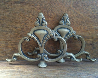 Vintage English Metal Handle Fixings Toppers Ornate Decor Pair circa 1910-20's / English Shop