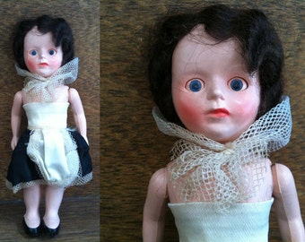 Vintage decorative pretty maid doll with closing eyes for display circa 1970's / English Shop