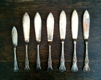 Vintage English Silver Plated Fish Knifes Set cutlery silverware flatware circa 1910-20's / English Shop
