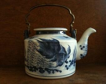 Vintage Asian Blue Fish Tea Pot with Brass Handle Teapot circa 1950-60's / English Shop