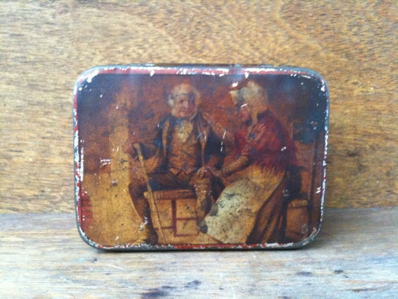 Vintage English Old Man and Woman Decorated Storage Collectable Tin Box circa 1930's / English Shop