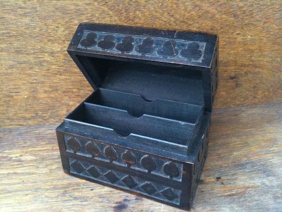 Vintage English wood playing card game box circa 1950's / English Shop