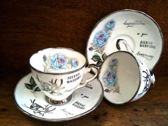 "Vintage English Silver Wedding Anniversary 2 Royal Stafford bone china ""Honeymoon Rose"" teacups cups saucers circa 1960's / English Shop"