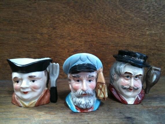 Vintage Toby Character Jugs Ornaments Set of Six circa 1960-70's / English Shop