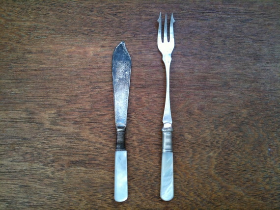 Vintage English silver plated pickle fork and small knife with mother of pearl handles cutlery circa 1920's / English Shop