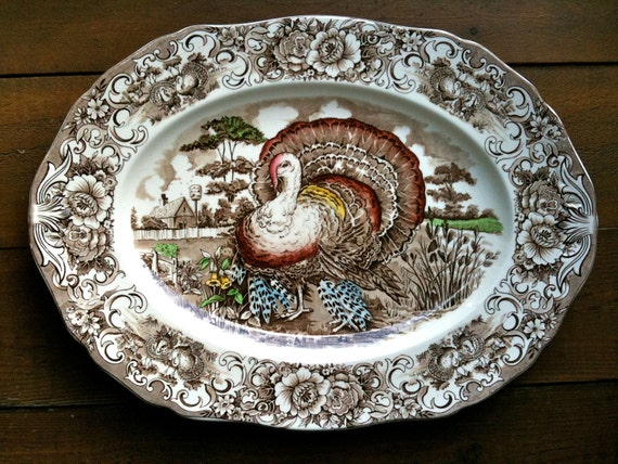 Vintage English Turkey Platter Thanksgiving Transferware