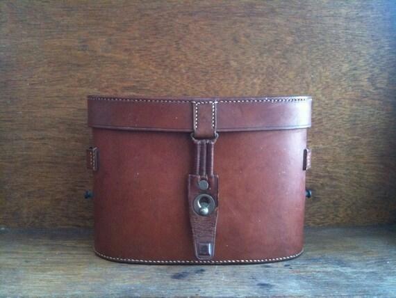 Vintage English Binocular Case, Brown Hand Sewn Leather / English Shop