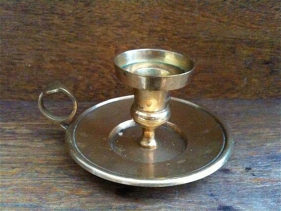 Vintage English Brass Candle Holder Candlestick Handheld Portable circa 1940's / English Shop