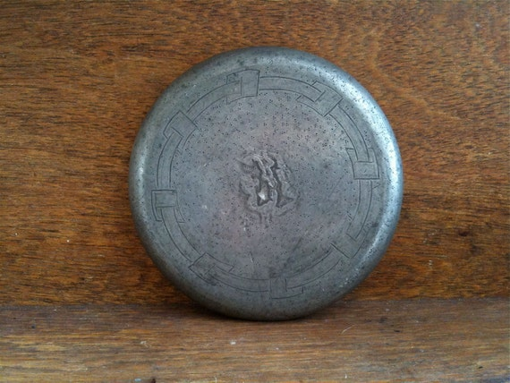 Antique English Pewter Pot Pan Bottle Stove Stand Trivet Table Protector circa 1880-1900's / English Shop