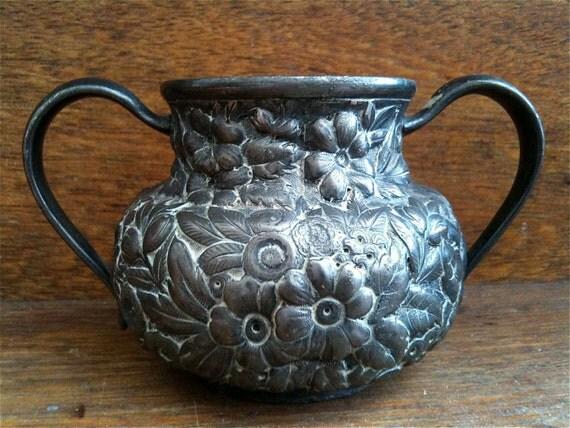 Antique English Pewter Metal Flower Vase Pot Trophy circa 1920's / English Shop