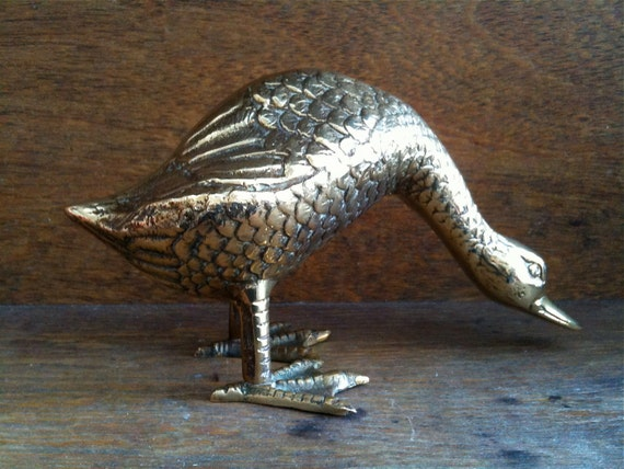 Vintage English Brass Goose, very Detailed / English Shop