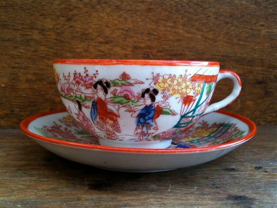Vintage Japanese Hand Painted Green Tea Cup circa 1950's / English Shop