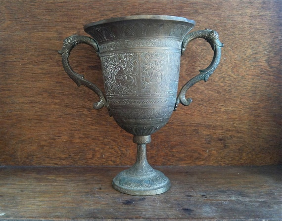 Vintage Asian Goblet Trophy Cup With Handles / English Shop