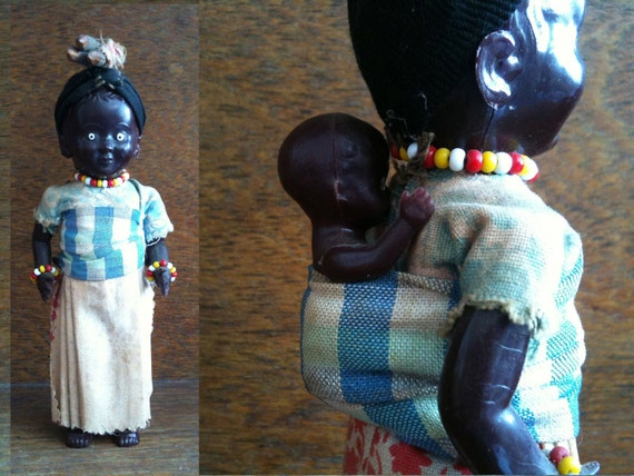 Vintage Mama Mother Mummy with Baby Display Doll Toy circa 1970's / English Shop