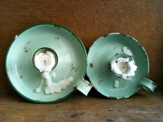 Vintage English Mint Green Candle Holders, with Loop / English Shop