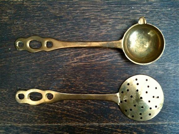 Vintage English Spoon and Sieve Cutlery Silverware Flatware Kitchen Decor circa 1950's / English Shop