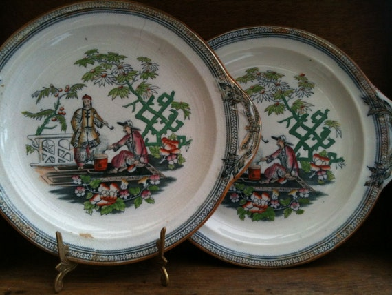 Vintage English Chinese Style Ceramic Plates Set of 2 with Handles circa 1920's / English Shop