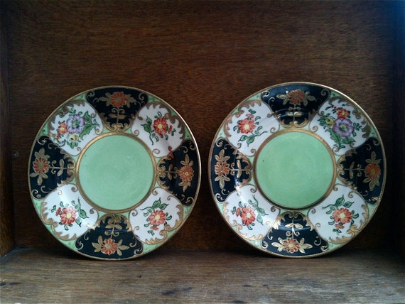 Vintage Japanese Mint Green Detailed Side Sandwich Plates Set of 2 circa 1940-50's / English Shop